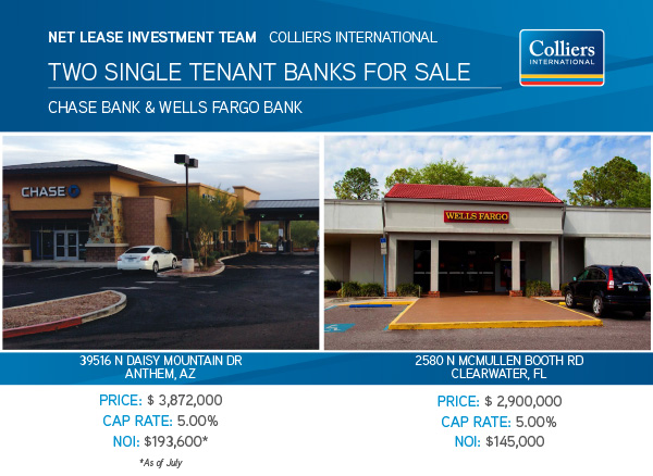 Banks For Sale >> Two Single Tenant Banks For Sale Chase Bank Wells Fargo Bank